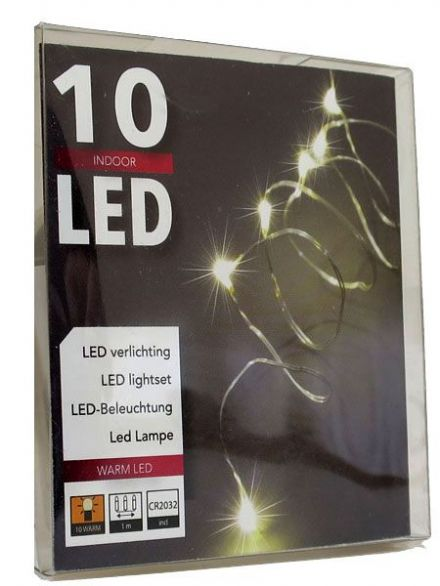 LED  String Chain Fairy Lights with Silver Wire-  10 Micro LEDs - 1mtr length